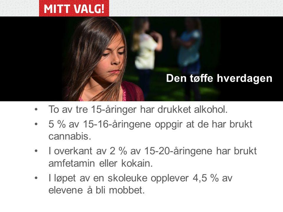 To av tre 15-åringer har drukket alkohol. 5 % av 15-16-åringene oppgir at de har brukt cannabis.