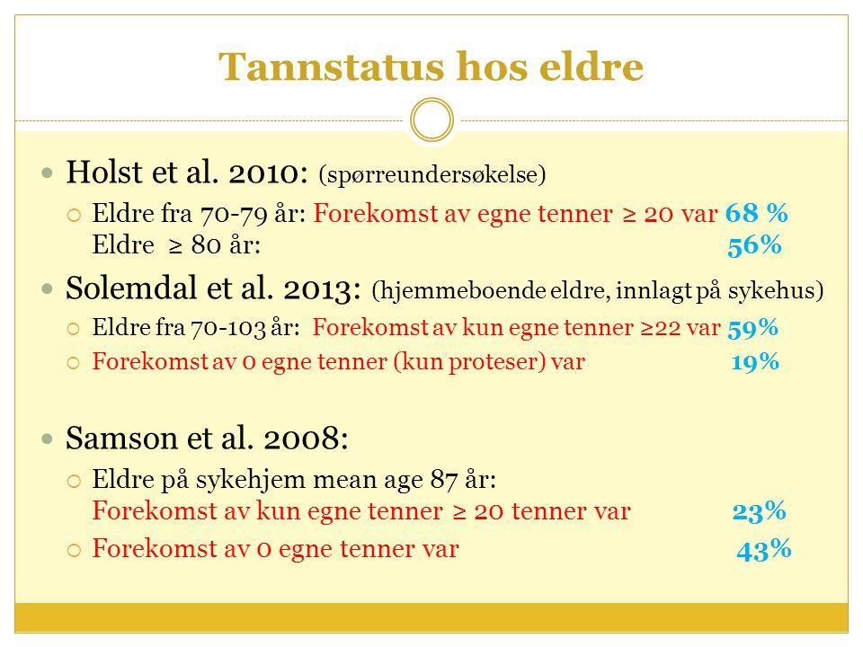 Tannstatus hos eldre Holst et al. 2010: (spørreundersøkelse)  Eldre fra 70-79 år: Forekomst av egne tenner ≥ 20 var 68 % Eldre ≥ 80 år: 56% Solemdal