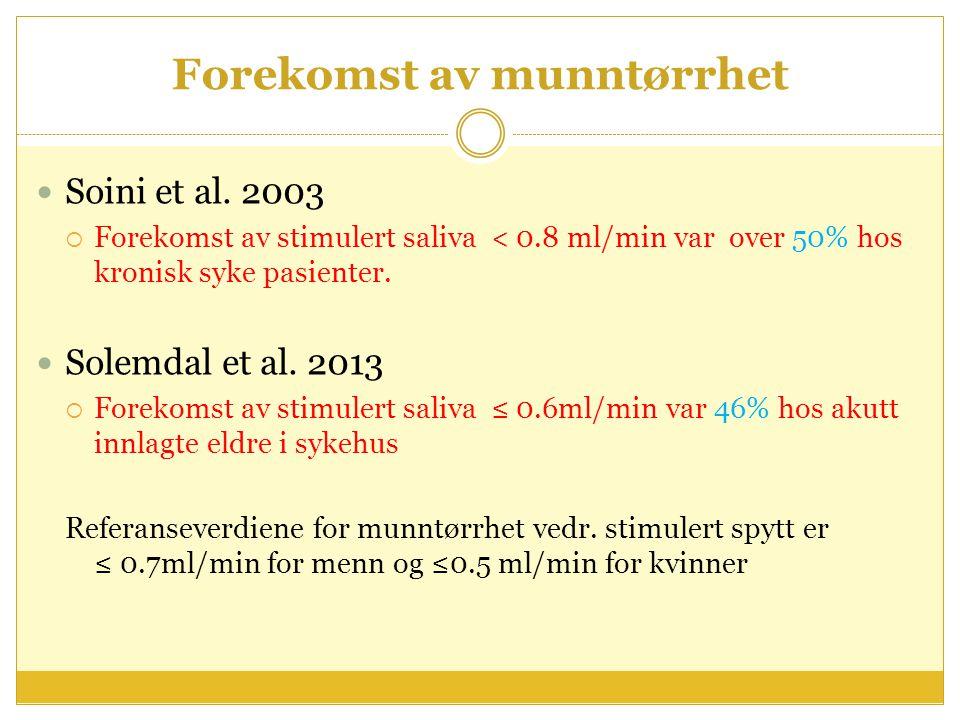 Forekomst av munntørrhet Soini et al. 2003  Forekomst av stimulert saliva < 0.8 ml/min var over 50% hos kronisk syke pasienter. Solemdal et al. 2013