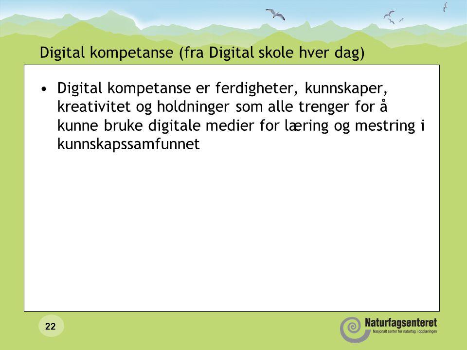 21 Ferdigheter og kompetanse Naturfagplanen (og de andre læreplanene) beskriver ulike kompetanser ved bruk av IKT, og ikke bare det vi vanligvis forbi