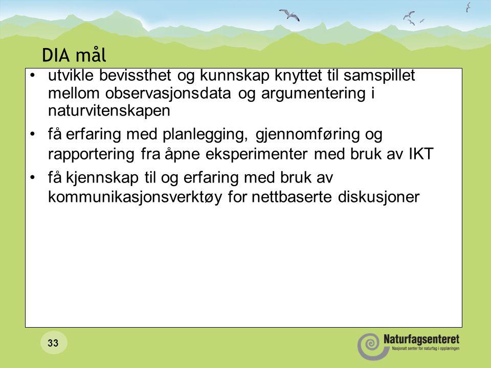 32 DIA-PROSJEKTET: Danning Informasjonsvurdering Argumentering (ved bruk av IKT)