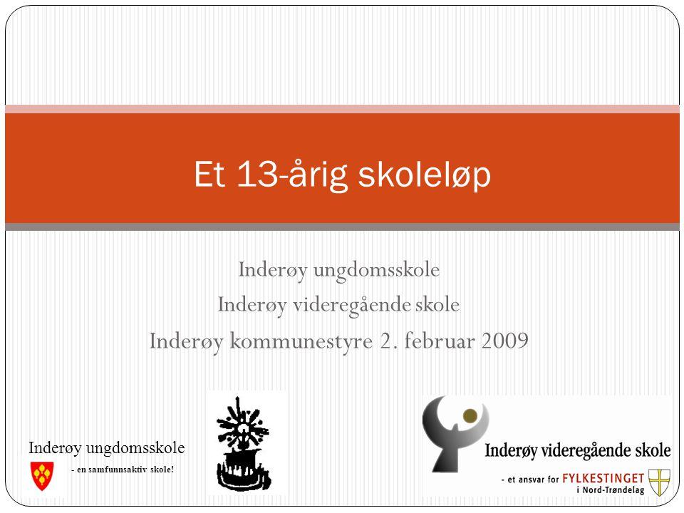 Inderøy ungdomsskole Inderøy videregående skole Inderøy kommunestyre 2. februar 2009 Et 13-årig skoleløp - en samfunnsaktiv skole! Inderøy ungdomsskol