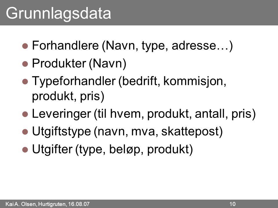 Kai A. Olsen, Hurtigruten, 16.08.07 10 Grunnlagsdata Forhandlere (Navn, type, adresse…) Produkter (Navn) Typeforhandler (bedrift, kommisjon, produkt,