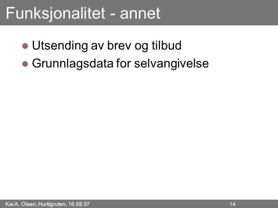 Kai A. Olsen, Hurtigruten, 16.08.07 14 Funksjonalitet - annet Utsending av brev og tilbud Grunnlagsdata for selvangivelse
