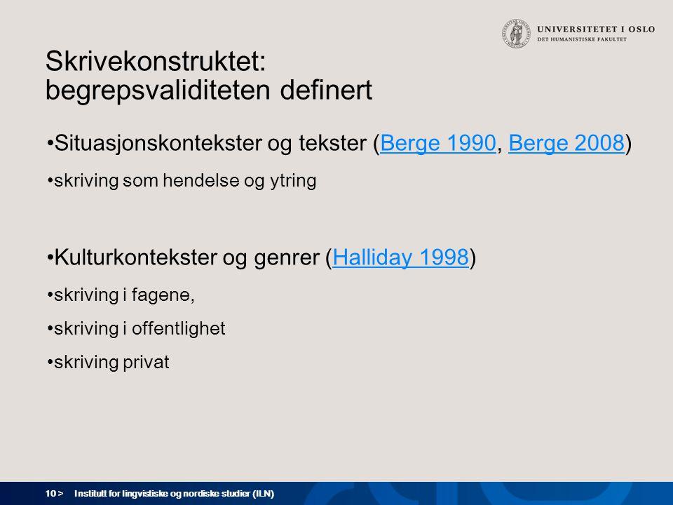 10 > Institutt for lingvistiske og nordiske studier (ILN) Skrivekonstruktet: begrepsvaliditeten definert Situasjonskontekster og tekster (Berge 1990,
