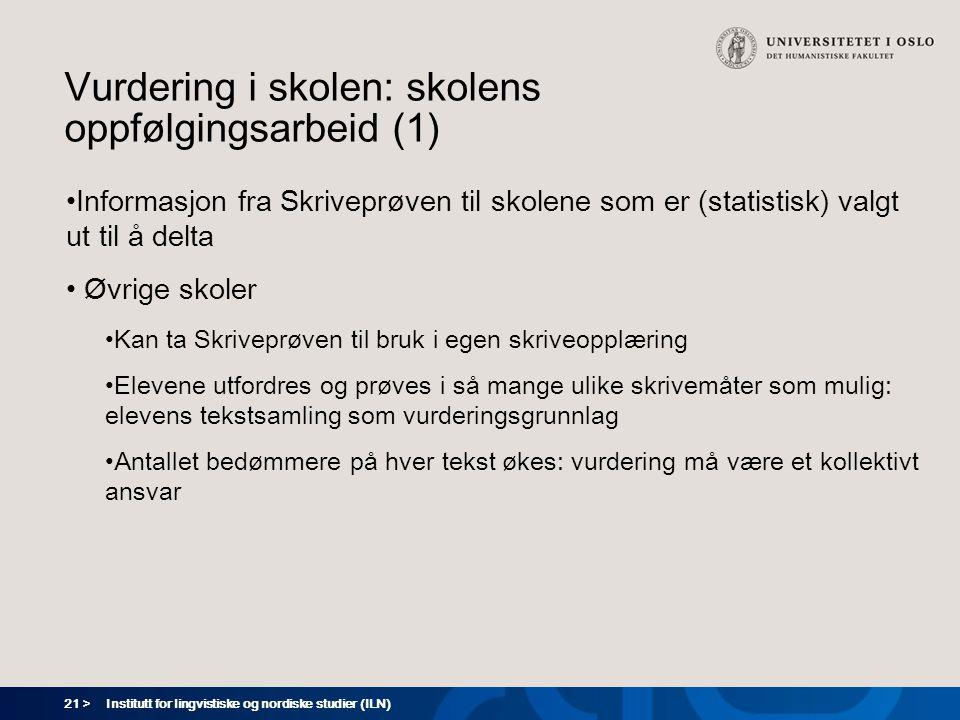 21 > Institutt for lingvistiske og nordiske studier (ILN) Vurdering i skolen: skolens oppfølgingsarbeid (1) Informasjon fra Skriveprøven til skolene s