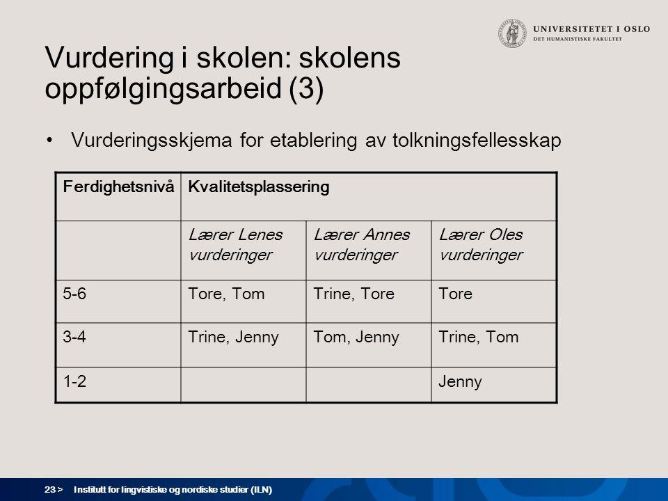 23 > Institutt for lingvistiske og nordiske studier (ILN) Vurdering i skolen: skolens oppfølgingsarbeid (3) Vurderingsskjema for etablering av tolknin