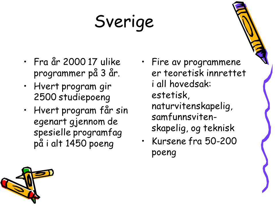 Sverige Fra år 2000 17 ulike programmer på 3 år.
