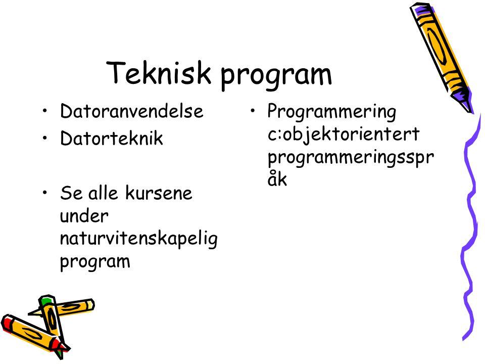 Teknisk program Datoranvendelse Datorteknik Se alle kursene under naturvitenskapelig program Programmering c:objektorientert programmeringsspr åk