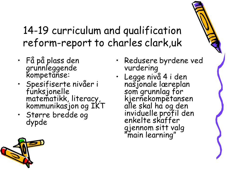14-19 curriculum and qualification reform-report to charles clark,uk Få på plass den grunnleggende kompetanse: Spesifiserte nivåer i funksjonelle matematikk, literacy, kommunikasjon og IKT Større bredde og dypde Redusere byrdene ved vurdering Legge nivå 4 i den nasjonale læreplan som grunnlag for kjernekompetansen alle skal ha og den inviduelle profil den enkelte skaffer gjennom sitt valg main learning