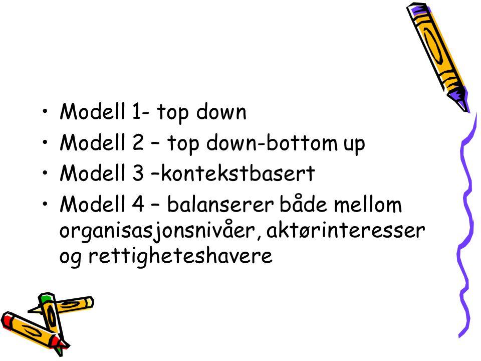 Modell 1- top down Modell 2 – top down-bottom up Modell 3 –kontekstbasert Modell 4 – balanserer både mellom organisasjonsnivåer, aktørinteresser og rettigheteshavere