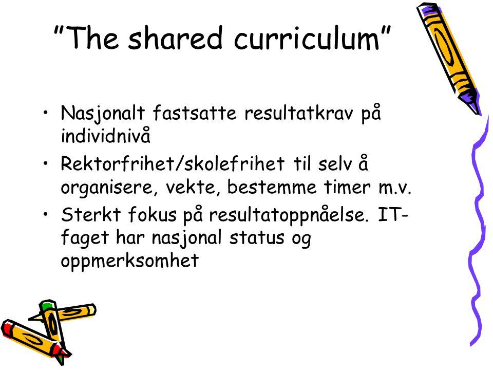 The shared curriculum Nasjonalt fastsatte resultatkrav på individnivå Rektorfrihet/skolefrihet til selv å organisere, vekte, bestemme timer m.v.