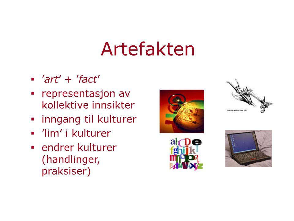 Artefakten  'art' + 'fact'  representasjon av kollektive innsikter  inngang til kulturer  'lim' i kulturer  endrer kulturer (handlinger, praksiser)