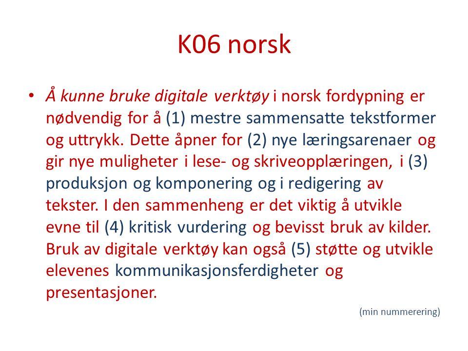 K06 norsk Å kunne bruke digitale verktøy i norsk fordypning er nødvendig for å (1) mestre sammensatte tekstformer og uttrykk.