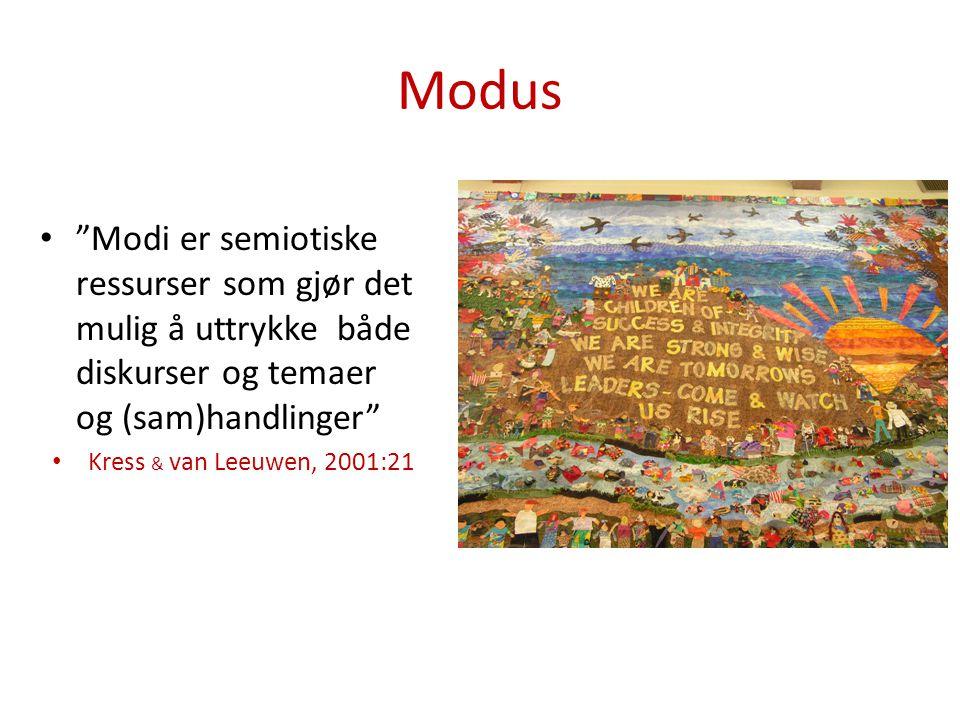 Modus Modi er semiotiske ressurser som gjør det mulig å uttrykke både diskurser og temaer og (sam)handlinger Kress & van Leeuwen, 2001:21