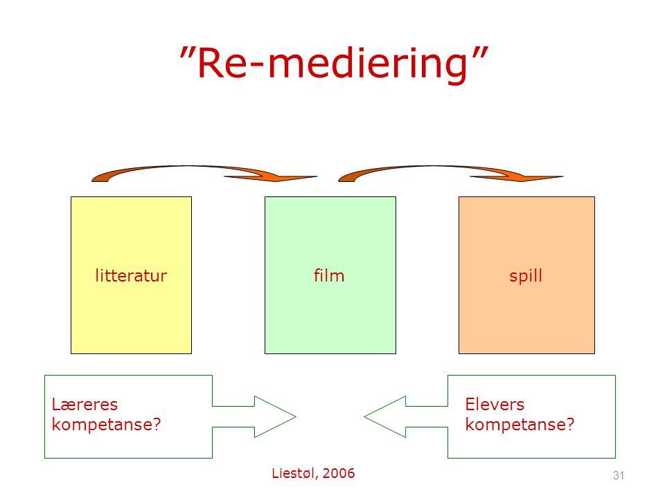 31 Re-mediering litteraturfilmspill Læreres kompetanse? Elevers kompetanse? Liestøl, 2006