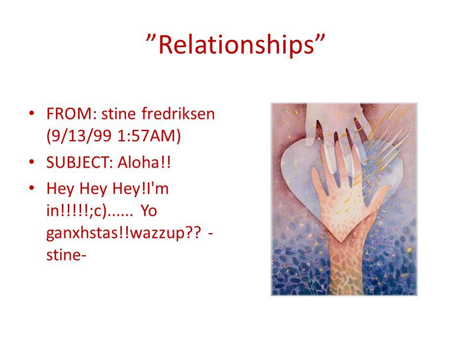 Relationships FROM: stine fredriksen (9/13/99 1:57AM) SUBJECT: Aloha!.