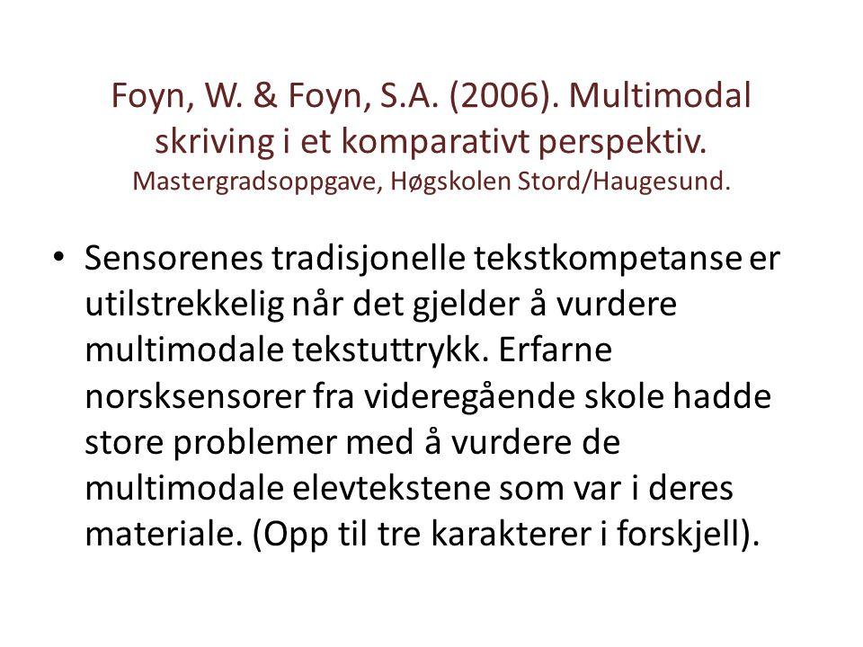 Foyn, W.& Foyn, S.A. (2006). Multimodal skriving i et komparativt perspektiv.
