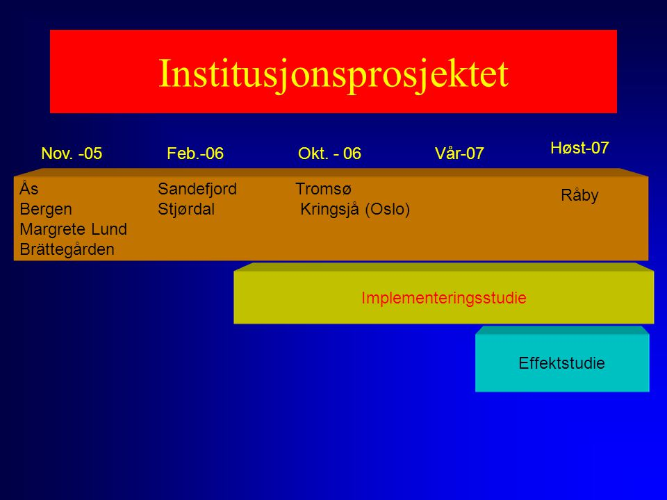 Institusjonsprosjektet Ås Sandefjord Tromsø Bergen Stjørdal Kringsjå (Oslo) Margrete Lund Brättegården Nov. -05Feb.-06Okt. - 06 Implementeringsstudie