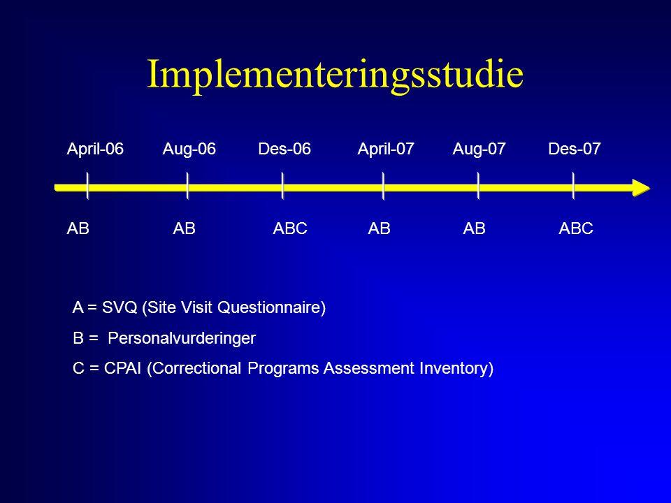 Implementeringsstudie April-06Aug-06Des-06April-07Aug-07Des-07 AB ABCAB ABC A = SVQ (Site Visit Questionnaire) B = Personalvurderinger C = CPAI (Corre