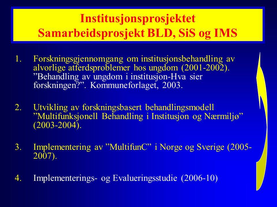 """1.Forskningsgjennomgang om institusjonsbehandling av alvorlige atferdsproblemer hos ungdom (2001-2002). """"Behandling av ungdom i institusjon-Hva sier f"""