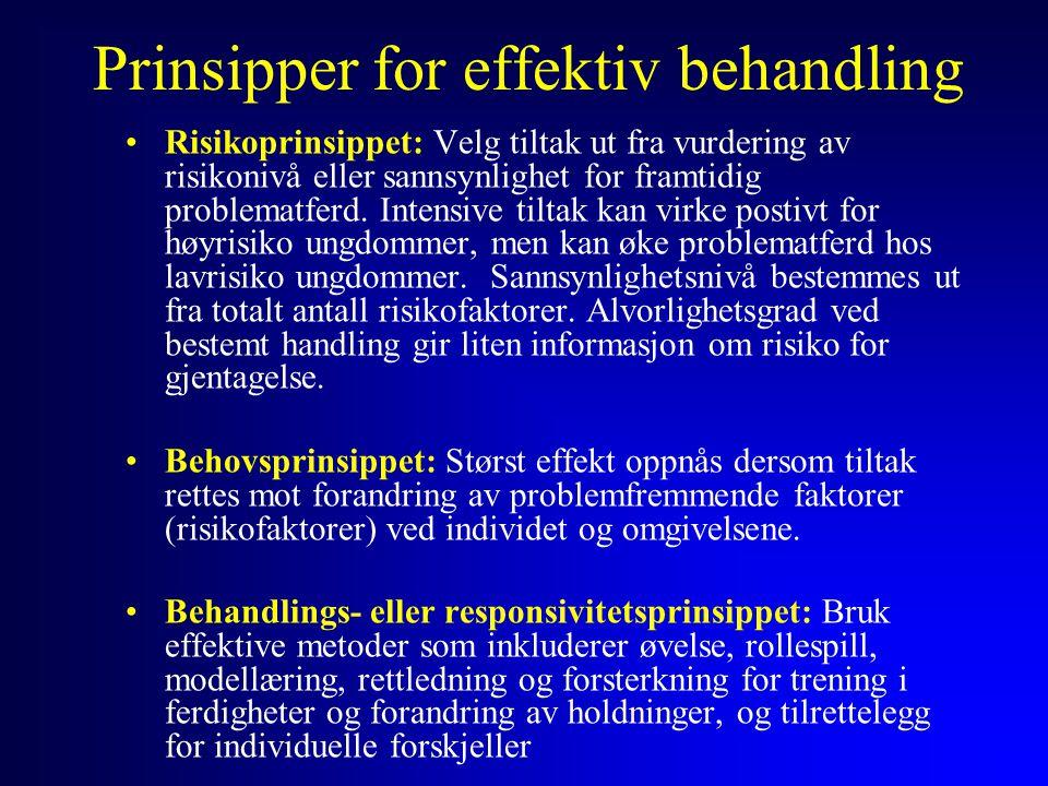 Prinsipper for effektiv behandling Risikoprinsippet: Velg tiltak ut fra vurdering av risikonivå eller sannsynlighet for framtidig problematferd. Inten