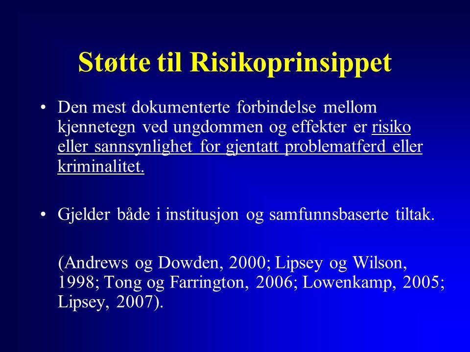 Støtte til Risikoprinsippet Den mest dokumenterte forbindelse mellom kjennetegn ved ungdommen og effekter er risiko eller sannsynlighet for gjentatt p