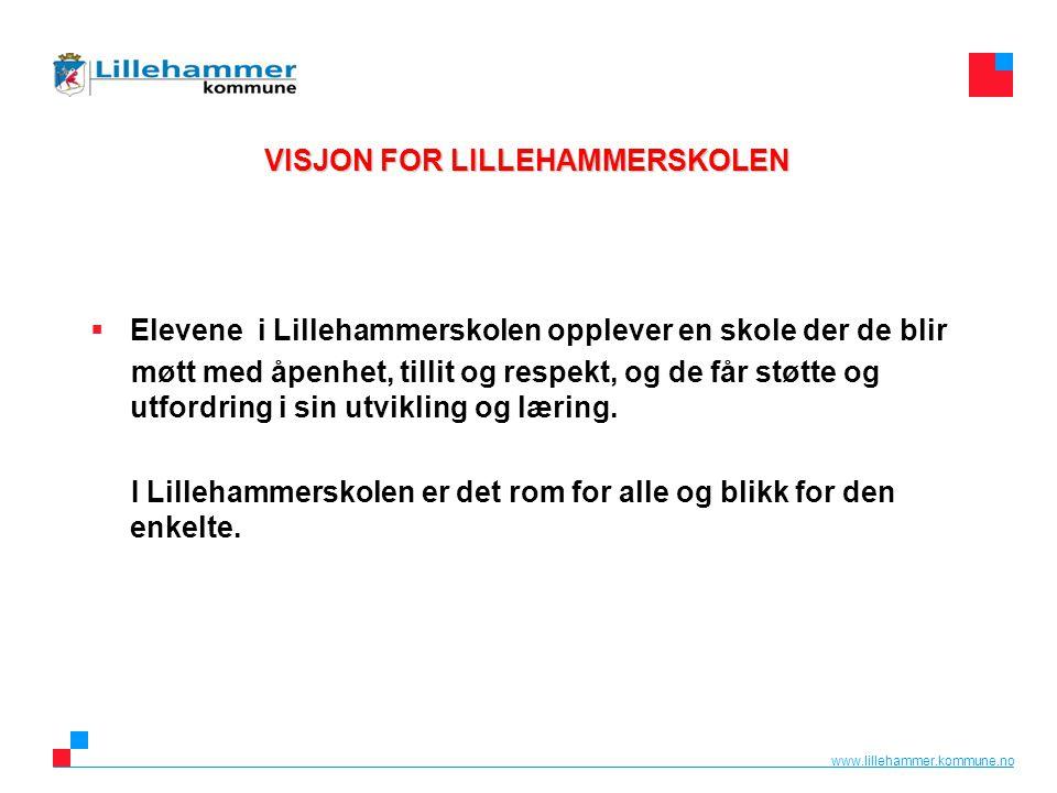 www.lillehammer.kommune.no VISJON FOR LILLEHAMMERSKOLEN  Elevene i Lillehammerskolen opplever en skole der de blir møtt med åpenhet, tillit og respek