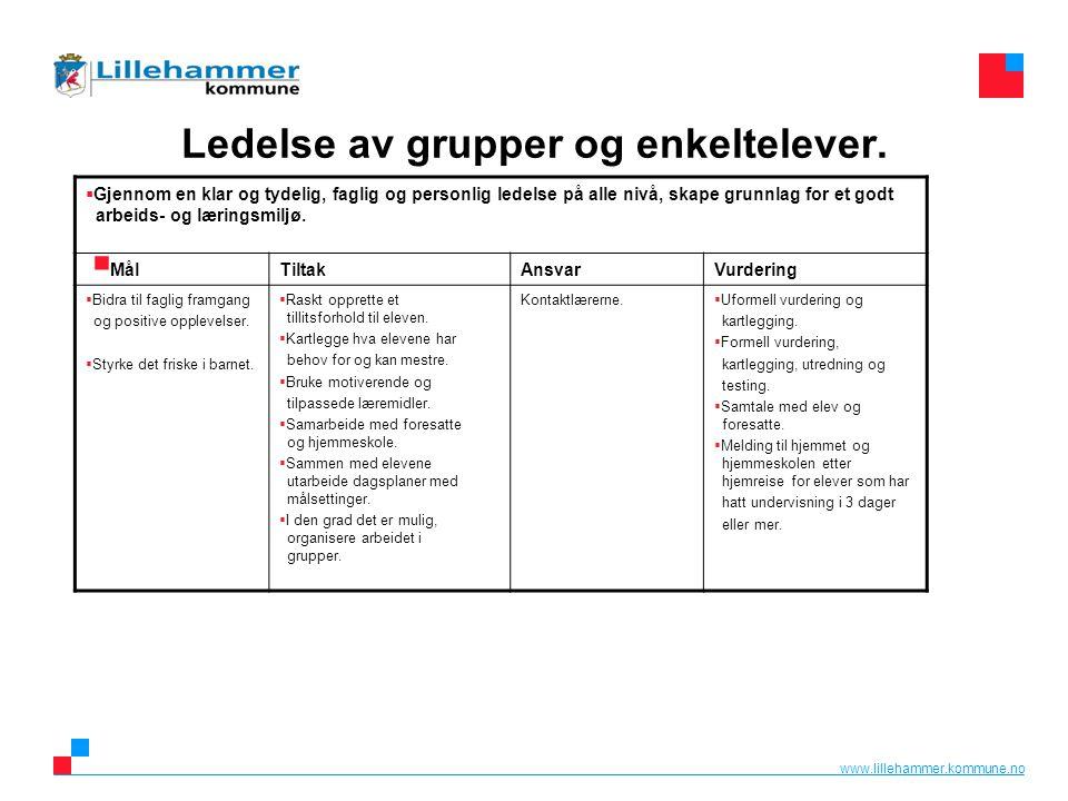www.lillehammer.kommune.no Ledelse av grupper og enkeltelever.   Gjennom en klar og tydelig, faglig og personlig ledelse på alle nivå, skape grunnla
