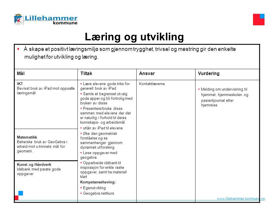 www.lillehammer.kommune.no Læring og utvikling  Å skape et positivt læringsmiljø som gjennom trygghet, trivsel og mestring gir den enkelte mulighet f