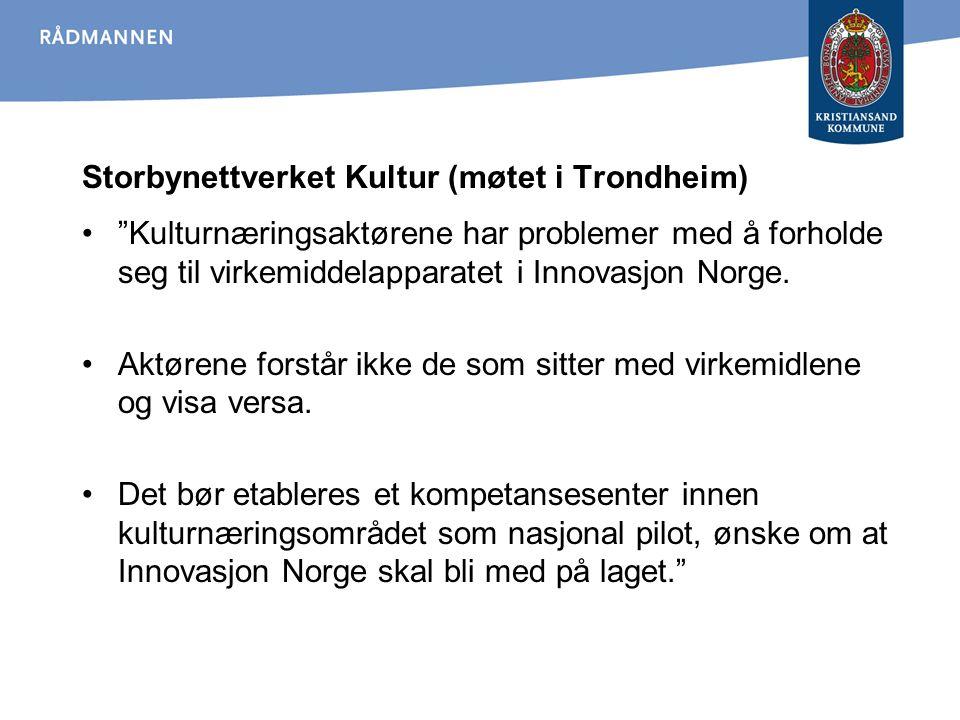 """Storbynettverket Kultur (møtet i Trondheim) """"Kulturnæringsaktørene har problemer med å forholde seg til virkemiddelapparatet i Innovasjon Norge. Aktør"""