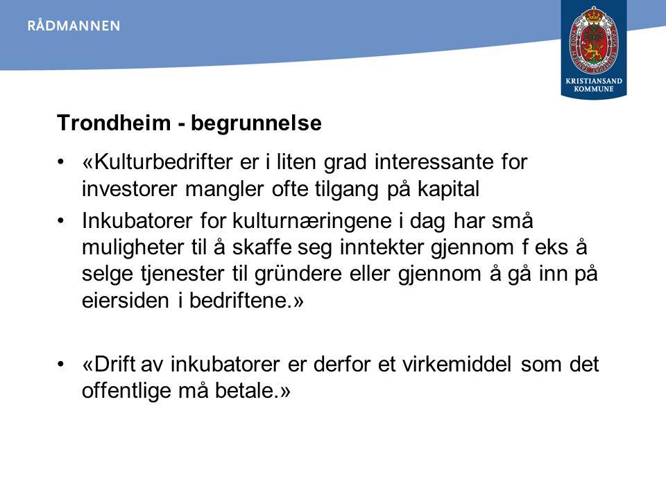 Trondheim - begrunnelse «Kulturbedrifter er i liten grad interessante for investorer mangler ofte tilgang på kapital Inkubatorer for kulturnæringene i