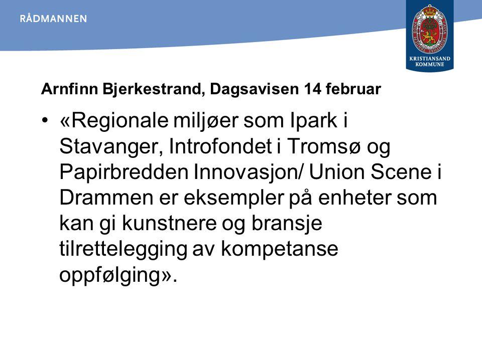 Arnfinn Bjerkestrand, Dagsavisen 14 februar «Regionale miljøer som Ipark i Stavanger, Introfondet i Tromsø og Papirbredden Innovasjon/ Union Scene i D