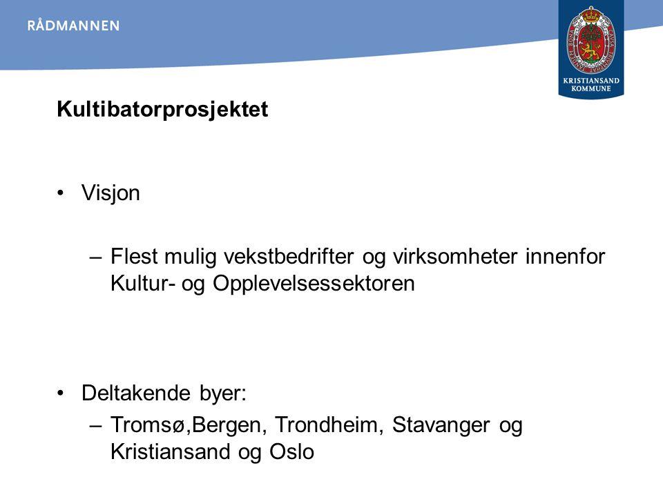 Kultibatorprosjektet Visjon –Flest mulig vekstbedrifter og virksomheter innenfor Kultur- og Opplevelsessektoren Deltakende byer: –Tromsø,Bergen, Trond