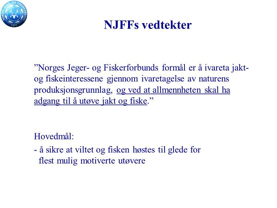 NJFFs vedtekter Norges Jeger- og Fiskerforbunds formål er å ivareta jakt- og fiskeinteressene gjennom ivaretagelse av naturens produksjonsgrunnlag, og ved at allmennheten skal ha adgang til å utøve jakt og fiske. Hovedmål: - å sikre at viltet og fisken høstes til glede for flest mulig motiverte utøvere