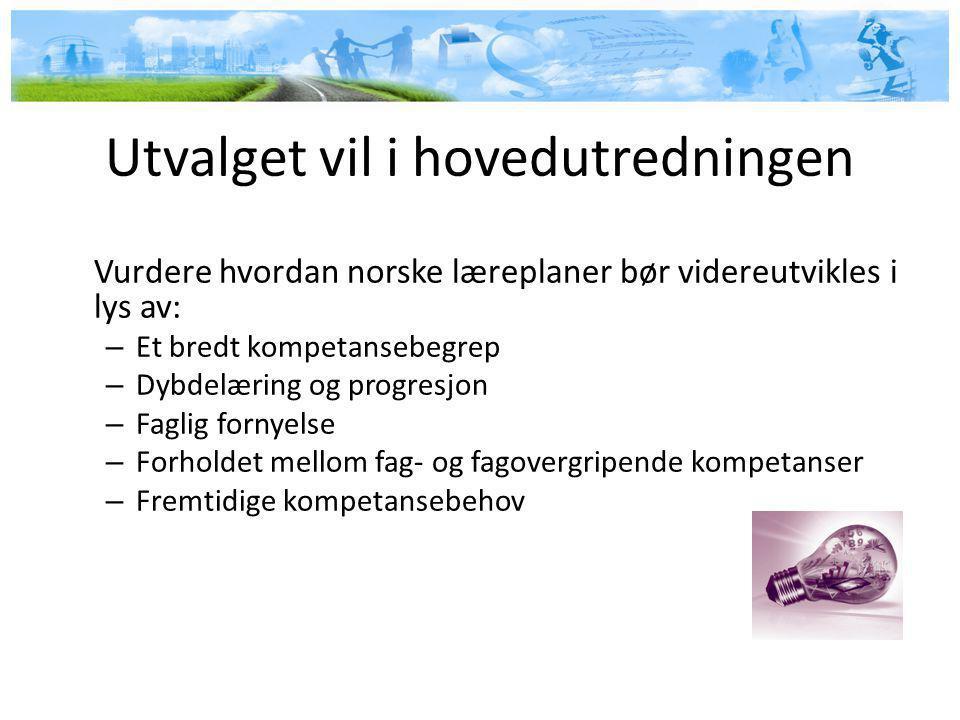 Utvalget vil i hovedutredningen Vurdere hvordan norske læreplaner bør videreutvikles i lys av: – Et bredt kompetansebegrep – Dybdelæring og progresjon – Faglig fornyelse – Forholdet mellom fag- og fagovergripende kompetanser – Fremtidige kompetansebehov