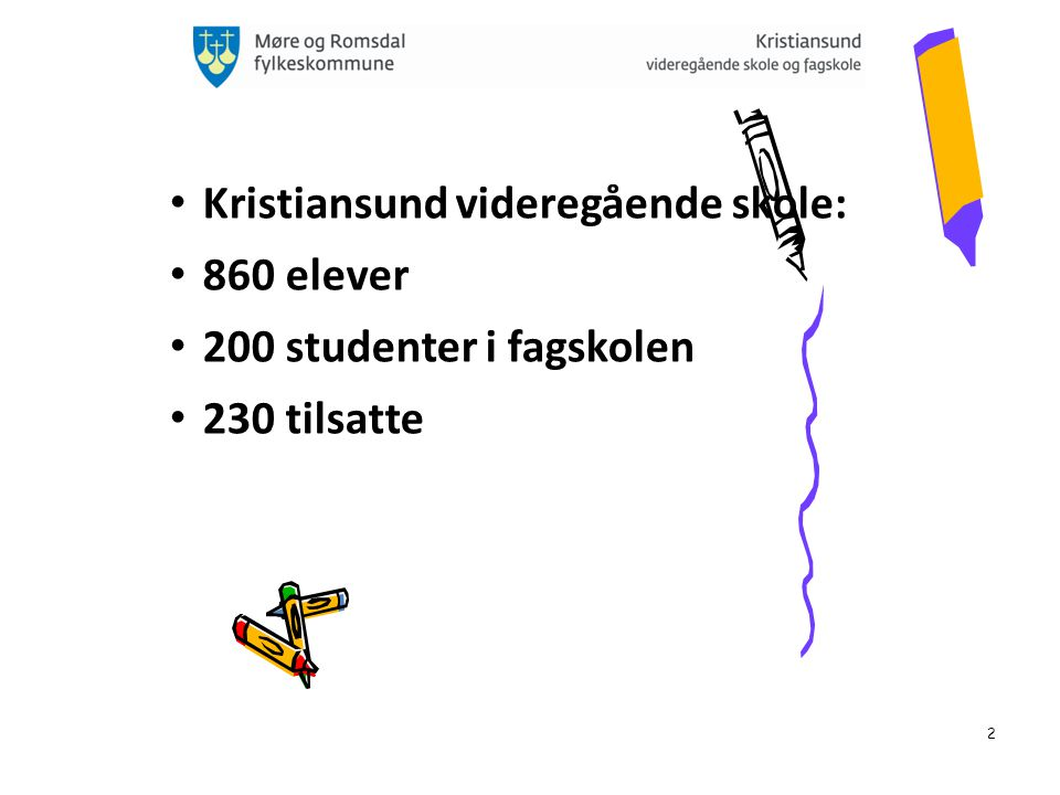 2 Kristiansund videregående skole: 860 elever 200 studenter i fagskolen 230 tilsatte