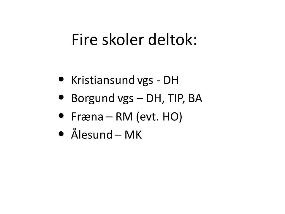 Fire skoler deltok: Kristiansund vgs - DH Borgund vgs – DH, TIP, BA Fræna – RM (evt. HO) Ålesund – MK