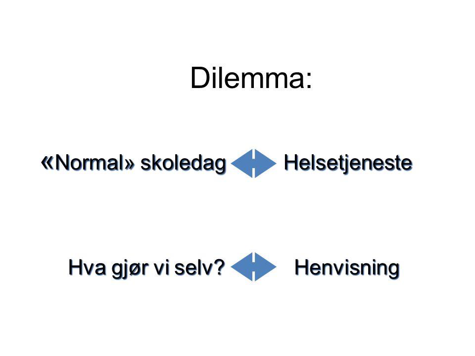 Dilemma : « Normal» skoledag Helsetjeneste Hva gjør vi selv? Henvisning