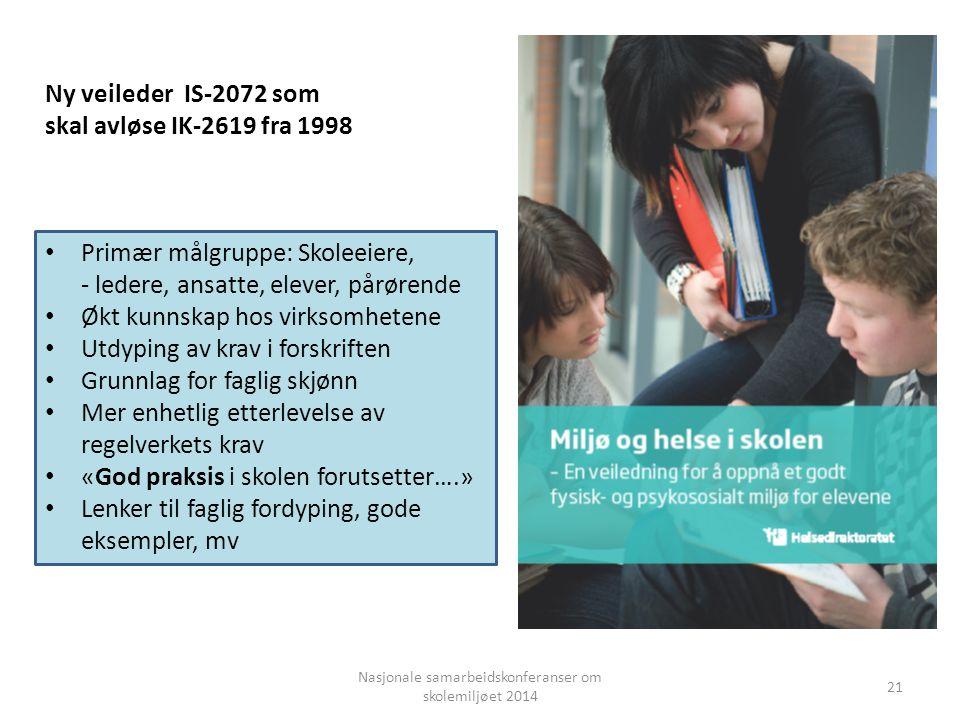 Nasjonale samarbeidskonferanser om skolemiljøet 2014 Ny veileder IS-2072 som skal avløse IK-2619 fra 1998 Primær målgruppe: Skoleeiere, - ledere, ansa