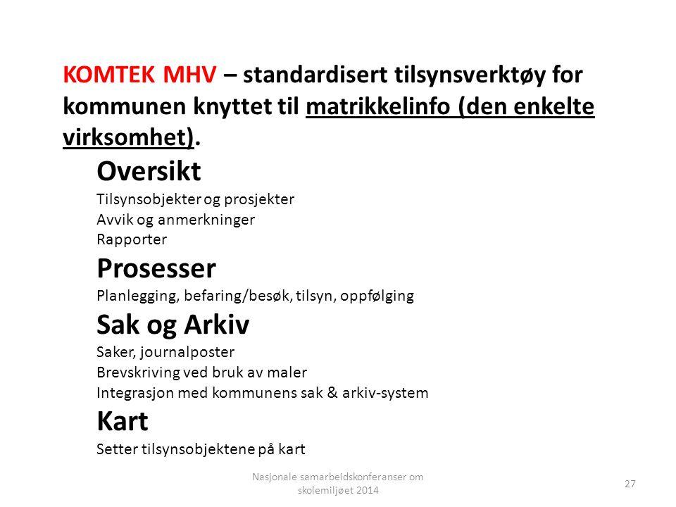 Nasjonale samarbeidskonferanser om skolemiljøet 2014 27 KOMTEK MHV – standardisert tilsynsverktøy for kommunen knyttet til matrikkelinfo (den enkelte virksomhet).