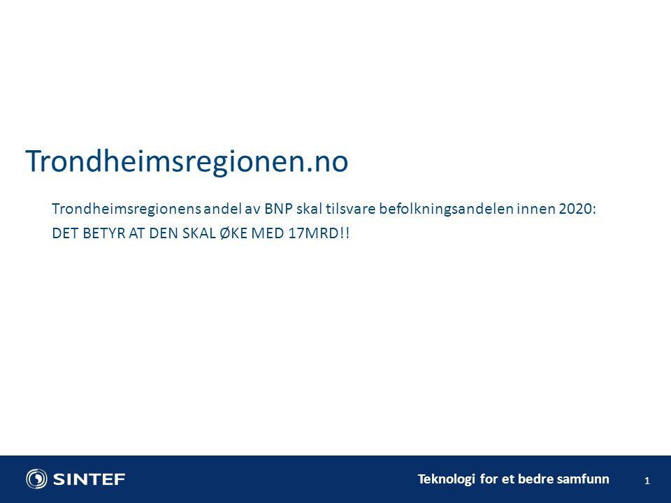 Teknologi for et bedre samfunn 1 Trondheimsregionens andel av BNP skal tilsvare befolkningsandelen innen 2020: DET BETYR AT DEN SKAL ØKE MED 17MRD!.