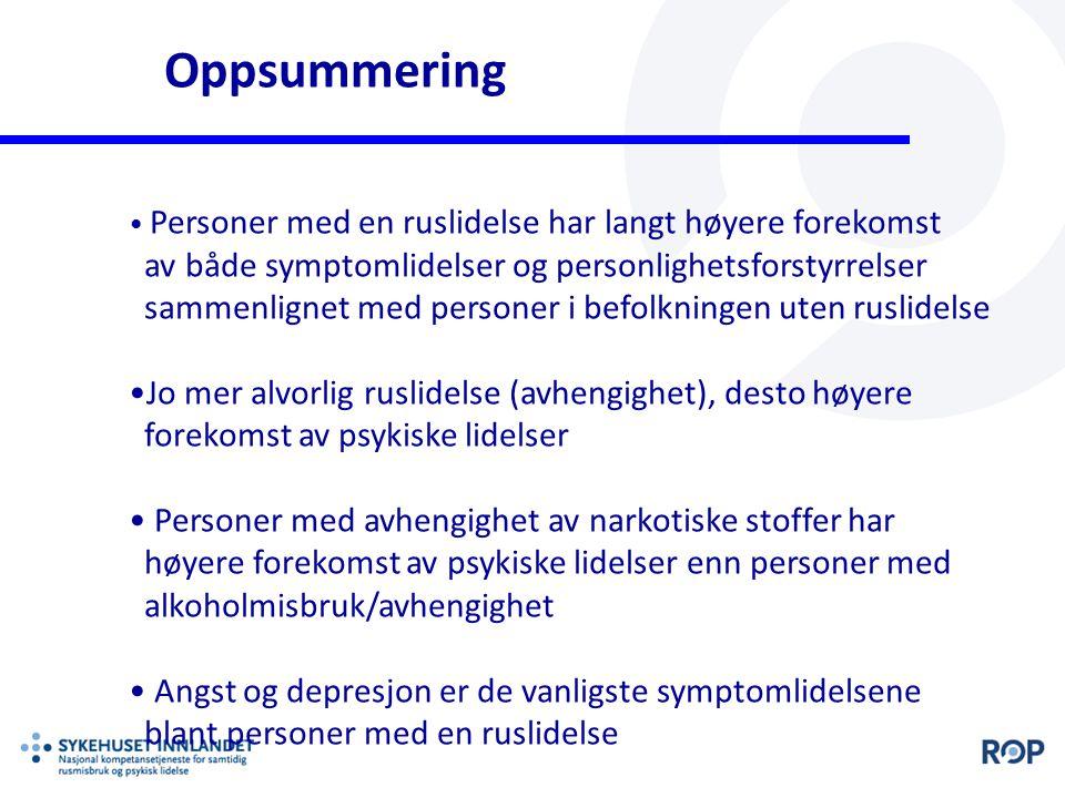 Oppsummering Personer med en ruslidelse har langt høyere forekomst av både symptomlidelser og personlighetsforstyrrelser sammenlignet med personer i b
