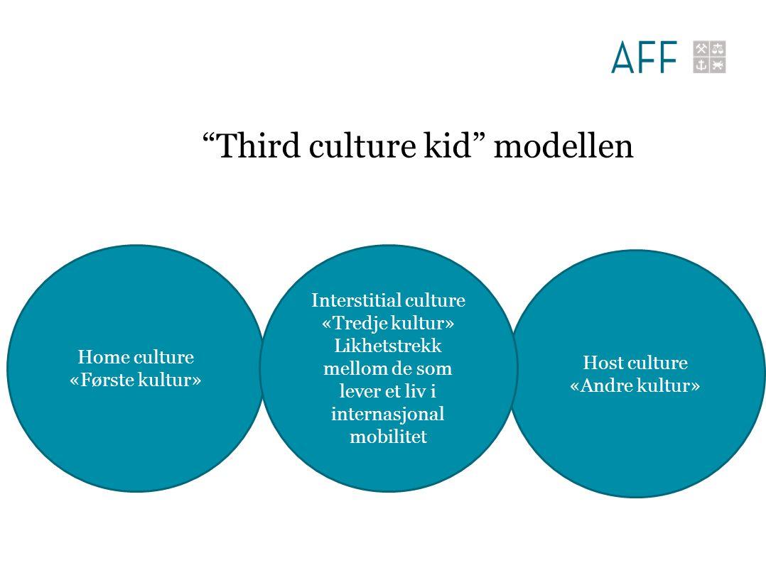 Home culture «Første kultur» Host culture «Andre kultur» Interstitial culture «Tredje kultur» Likhetstrekk mellom de som lever et liv i internasjonal mobilitet Third culture kid modellen