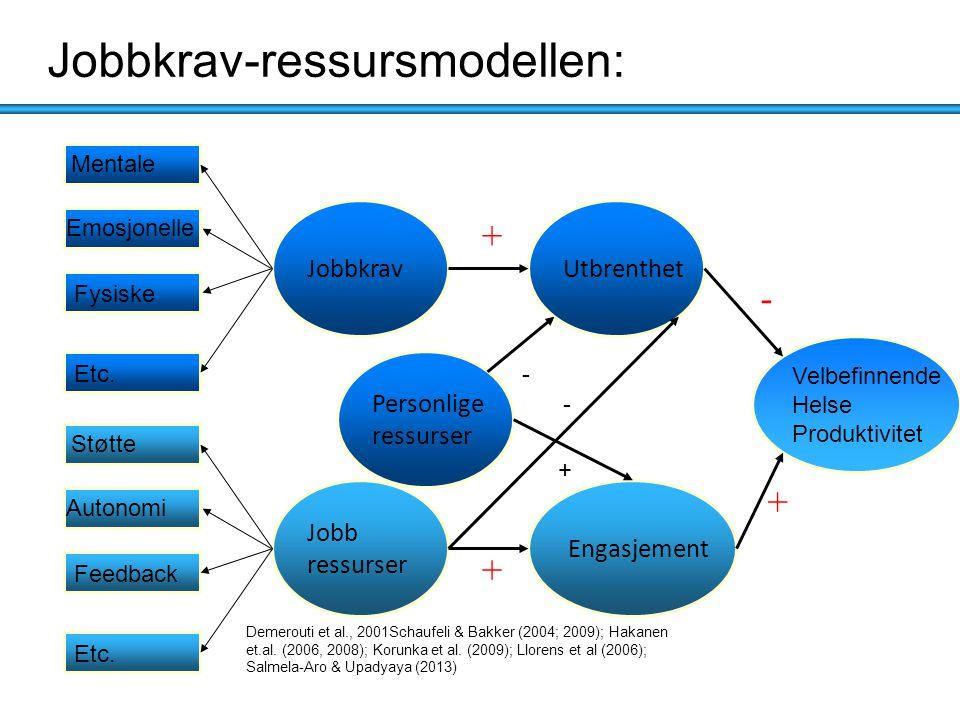 Jobb ressurser Støtte Autonomi - Feedback Etc. Jobbkrav Mentale Emosjonelle Fysiske Etc. Velbefinnende Helse Produktivitet Demerouti et al., 2001Schau