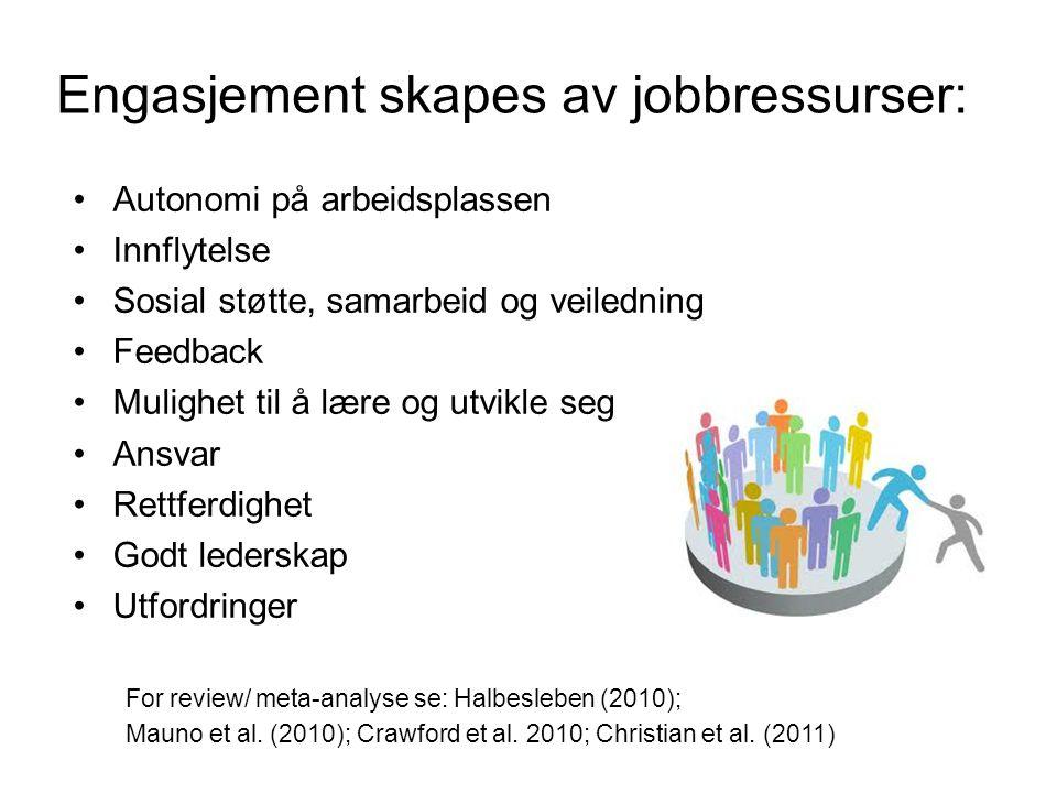 Engasjement skapes av jobbressurser: Autonomi på arbeidsplassen Innflytelse Sosial støtte, samarbeid og veiledning Feedback Mulighet til å lære og utv