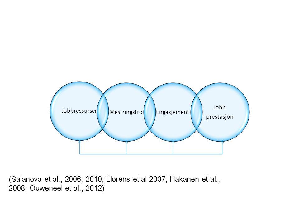 (Salanova et al., 2006; 2010; Llorens et al 2007; Hakanen et al., 2008; Ouweneel et al., 2012)