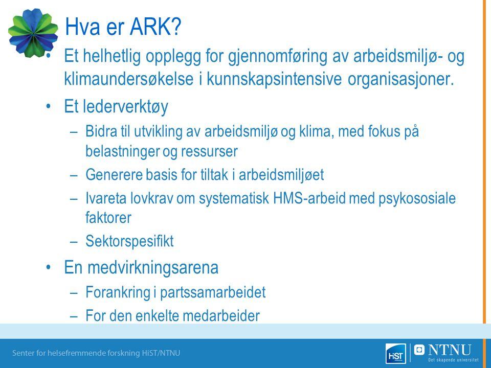 Hva er ARK? Et helhetlig opplegg for gjennomføring av arbeidsmiljø- og klimaundersøkelse i kunnskapsintensive organisasjoner. Et lederverktøy –Bidra t