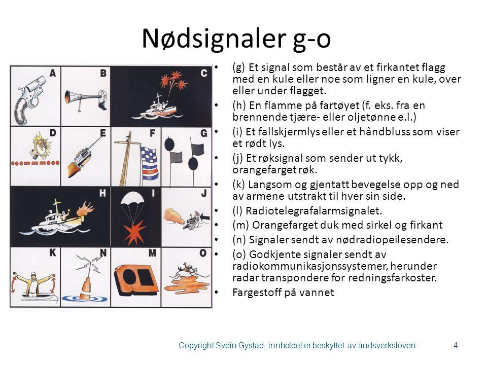 Nødsignaler g-o (g) Et signal som består av et firkantet flagg med en kule eller noe som ligner en kule, over eller under flagget. (h) En flamme på fa