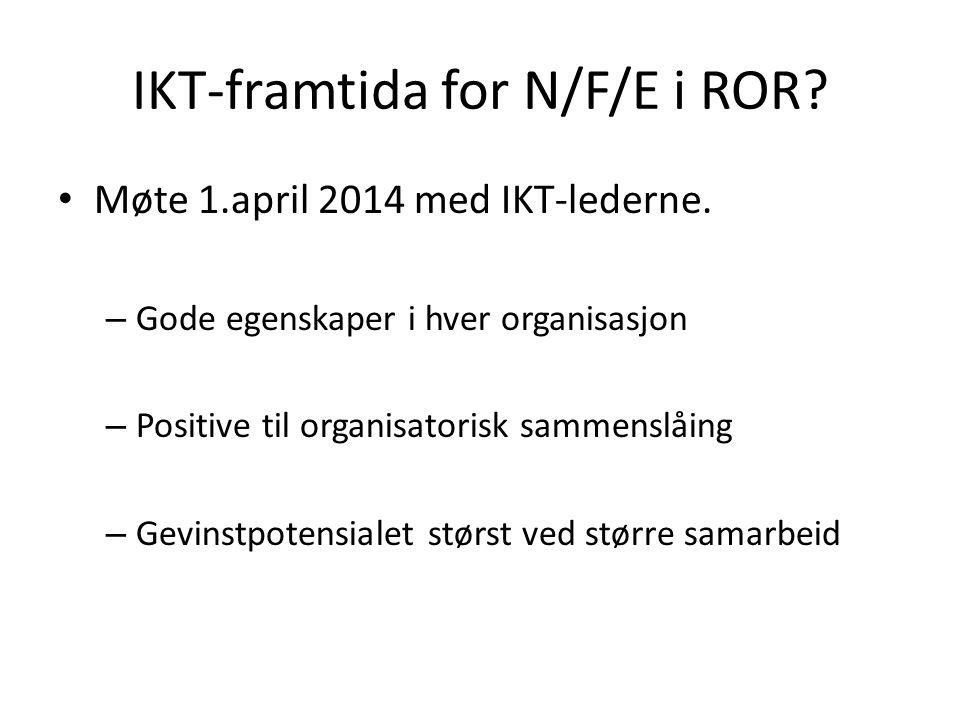 IKT-framtida for N/F/E i ROR. Møte 1.april 2014 med IKT-lederne.